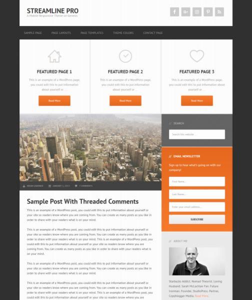 Streamline Pro StudioPress - Genesis Child blogging theme for WordPress