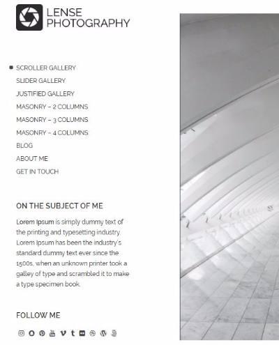 Header Left Side - Lense Gallery Theme