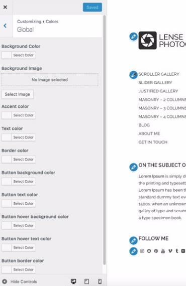 Lense Customize Options
