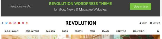Header Ad Banner and Navigation - Revolution
