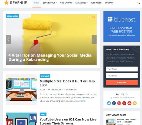 Header and Slideshow - Revenue HappyThemes