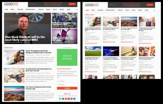 List Grid Homepage Layout - GoodSite HappyThemes