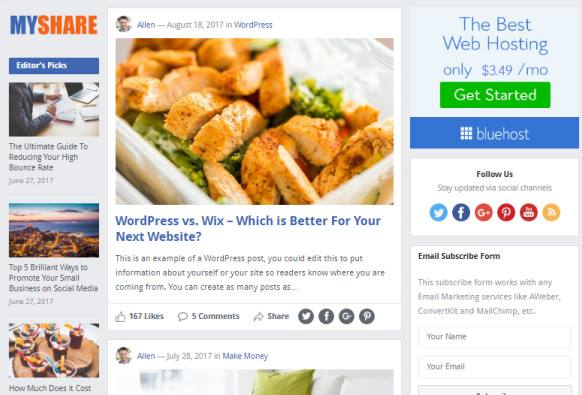 Featured Posts with Sidebar Widgets - MyShare Happy Themes