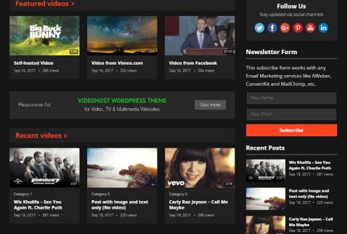 Featured and Recent Videos - VideoHost Homepage