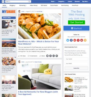 MyShare WordPress Blog Theme - HappyThemes