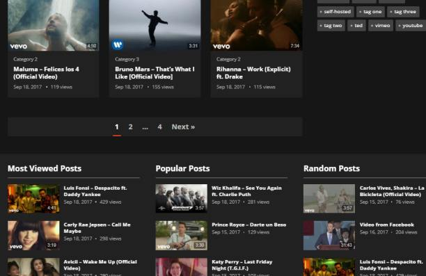 Video Thumbnails and Widgets - VideoHost Theme